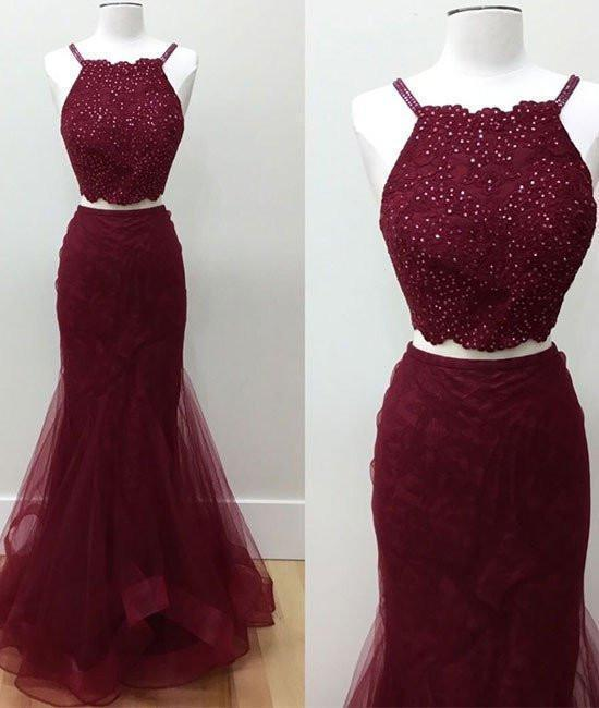 Hot-Selling Two-Piece Mermaid Halter Sleeveless Burgundy Long Prom Dress with Beading