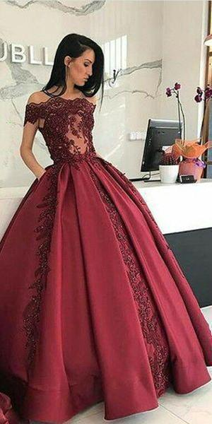 Burgundy Long Affordable Appliques Mermaid Lace Appliques Prom Dresses