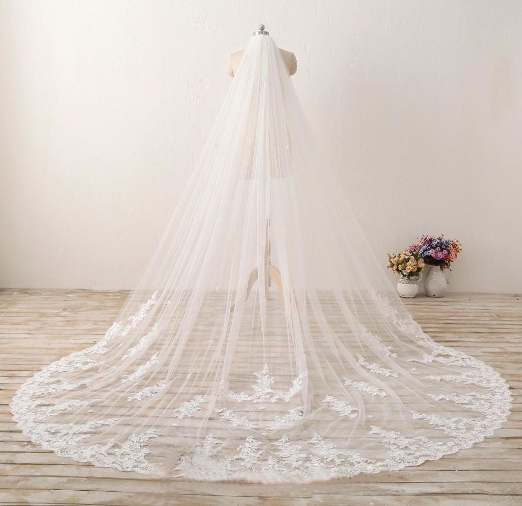 3M Long Embroidered Lace Appliques Tulle Cathedral Veil for Wedding Wedding Veil