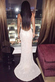 Mermaid Deep V-Neck Sweep Train Backless Criss-Cross Straps Ivory Sequined Prom Dresses
