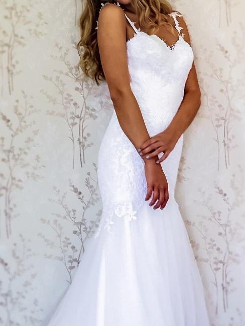 White Lace Mermaid Sweetheart Tulle Spaghetti Straps Backless Affordable Wedding Dresses
