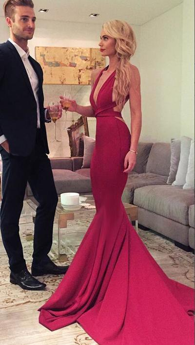 Sexy Red Mermaid Long Prom Dress Formal Evening Dress with Criss Criss Back