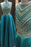 Two Pieces Beaded Crew Neck Prom Dress-Zipper-up Satin Long Prom Dresses