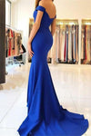 Royal Blue Long Mermaid Off the Shoulder Sweetheart Satin Pretty Prom Dresseses