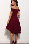 Short A Line Burgundy Off the Shoulder High Low Knee Length Satin Homecoming Dresses