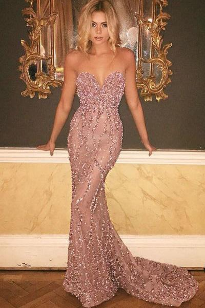 Mermaid Strapless Sweetheart Beads Sweep Train Floor-Length Prom Dress