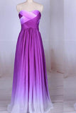 Simple Purple Strapless Sweetheart A-Line Chiffon Ombre Backless Prom Dresses
