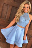 Two Piece Round Neck Short Tiered Satin Blue Open Back Homecoming Dress with Lace