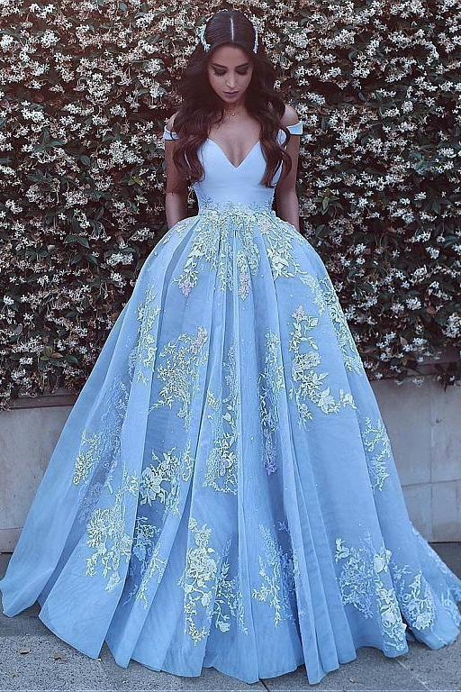 Wonderful Off-the-shoulder Ball Gown Formal Blue Lace Appliques Long Quinceanera Dresses