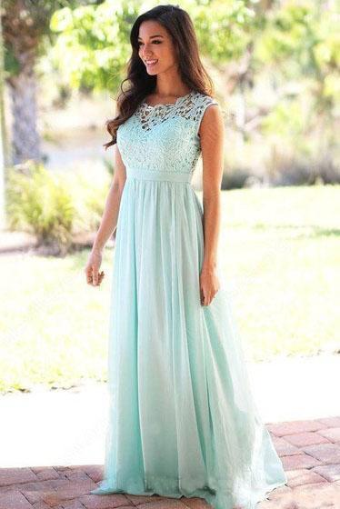 Affordable A-line Scoop Neck Lace Cap Sleeve Chiffon Floor-length Prom Dresses