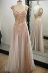 Noble A-line V-neck Tulle with Appliques Lace Sweetheart Open Back Long Prom Dresses