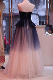 A Line Ombre Blue Tulle Long Prom Dress Unique New Style Strapless Evening Dress
