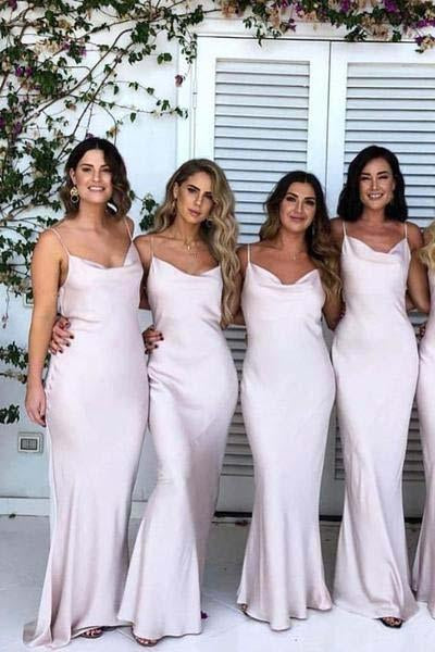 Mermaid Spaghetti Straps Simple Satin Sweetheart Cheap Bridesmaid Dresses