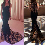 Mermaid Sweetheart Sweep Train Tulle Satin Black with Appliques Lace Prom Dresses