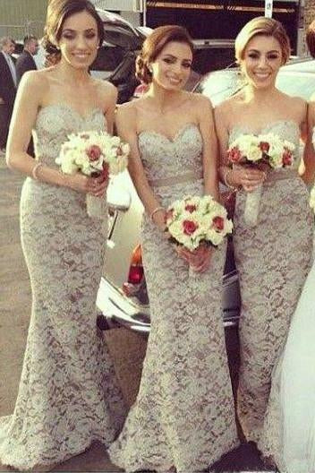 Sexy Sweetheart Mermaid Lace Long Floor Length Sleeveless Bridesmaid Dresses