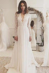 Off White Chiffon Open Back Long Sleeves Wedding Dress Simple A Line V Neck Lace Prom Dress