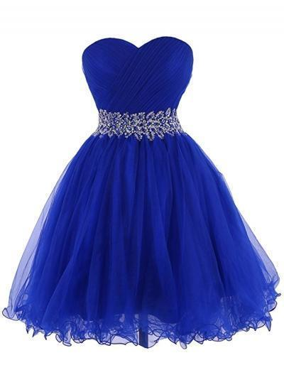 Modern Sweetheart Knee Length Royal Blue Homecoming Dress