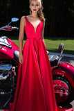 New A-Line Appliques Beads Floor Length Deep V-Neck Red Sexy Elegant Prom Dresses