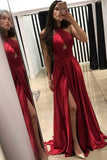 A-Line Cross Neck Floor-Length Sleeveless Dark Red Prom Dresses with Split Keyhole