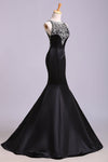 Sexy Black Mermaid Beads High Neck Satin Button Cheap Prom Dresses Party Dress