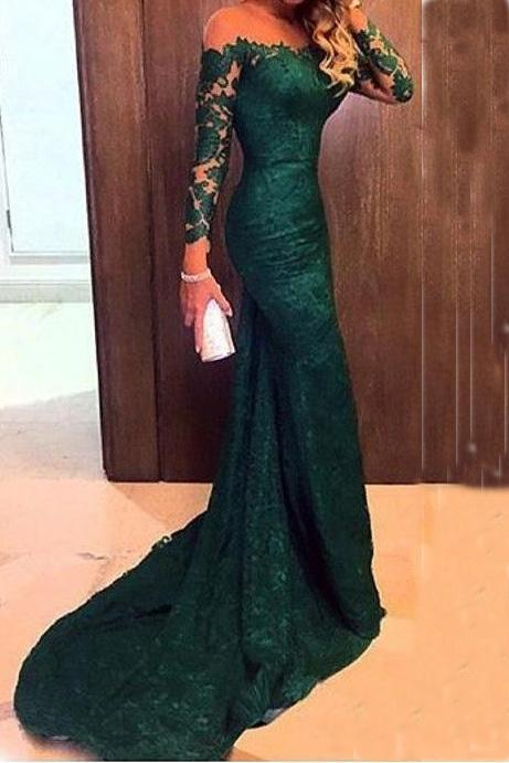 Mermaid Long Sleeves Lace Court Train Green Scoop Prom Dresses