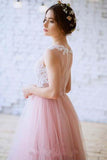 New Arrival Princess Scoop Neck Tulle with Appliques Lace Floor-length Pink Prom Dresses