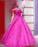 Princess Fuchsia Tulle Off-the-Shoulder Ball Gown Sweetheart Lace Appliques Prom Dresses