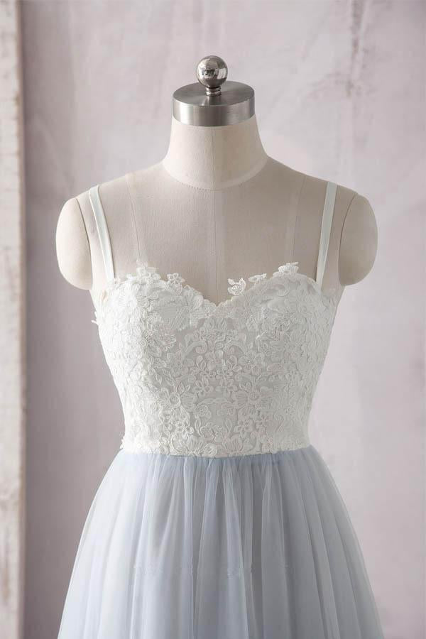 Simple A Line Spaghetti Straps Gray Sweetheart Ivory Lace Blue Tulle Prom Dresses