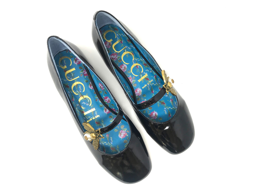 GUCCI Patent Ballerina Flat With Bee