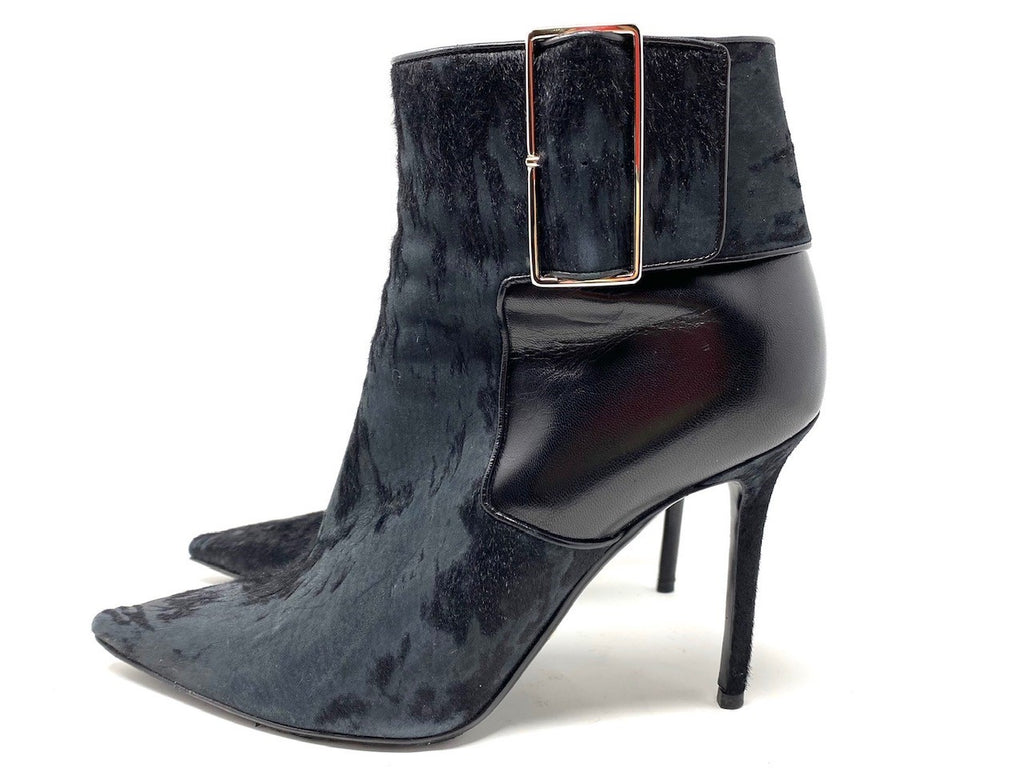 Christian Dior Navy/Black Leather Buckle Bootie
