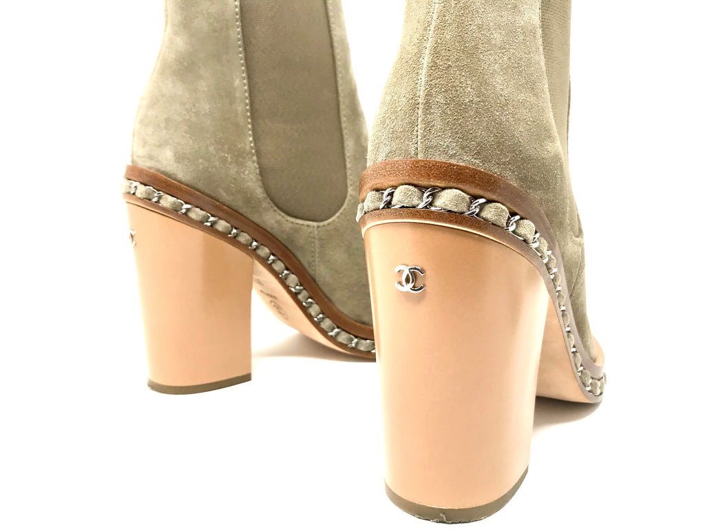 Chanel 14K Suede Silver Chain Ankle Boot/Bootie