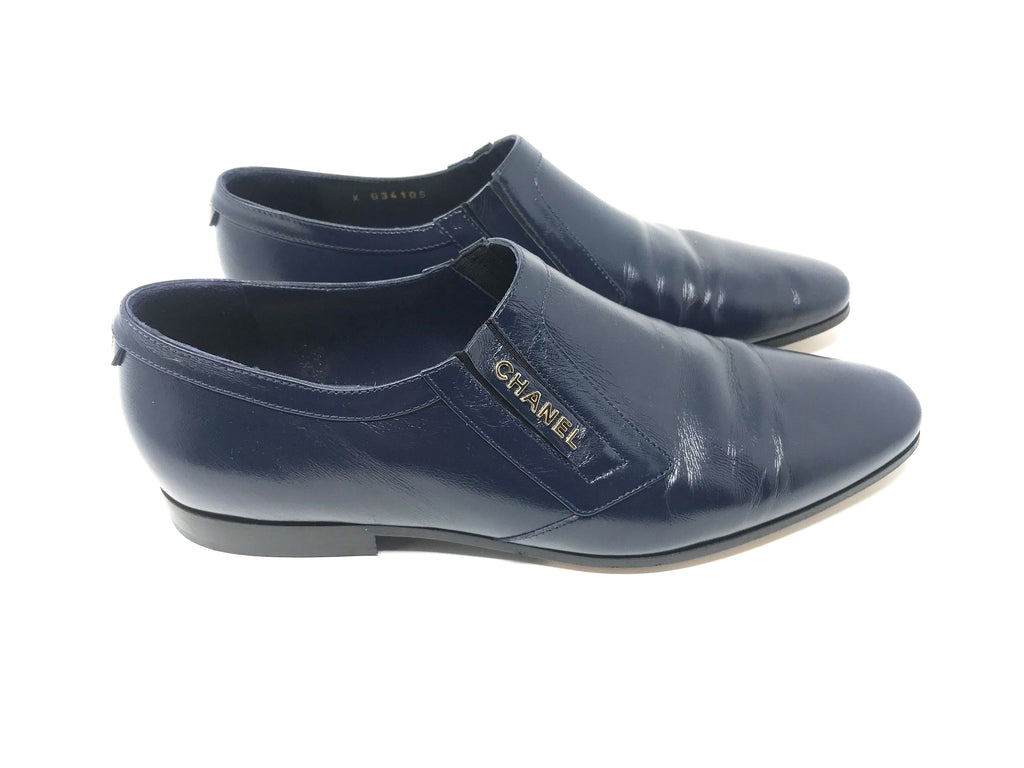 CHANEL Navy Leather Loafer