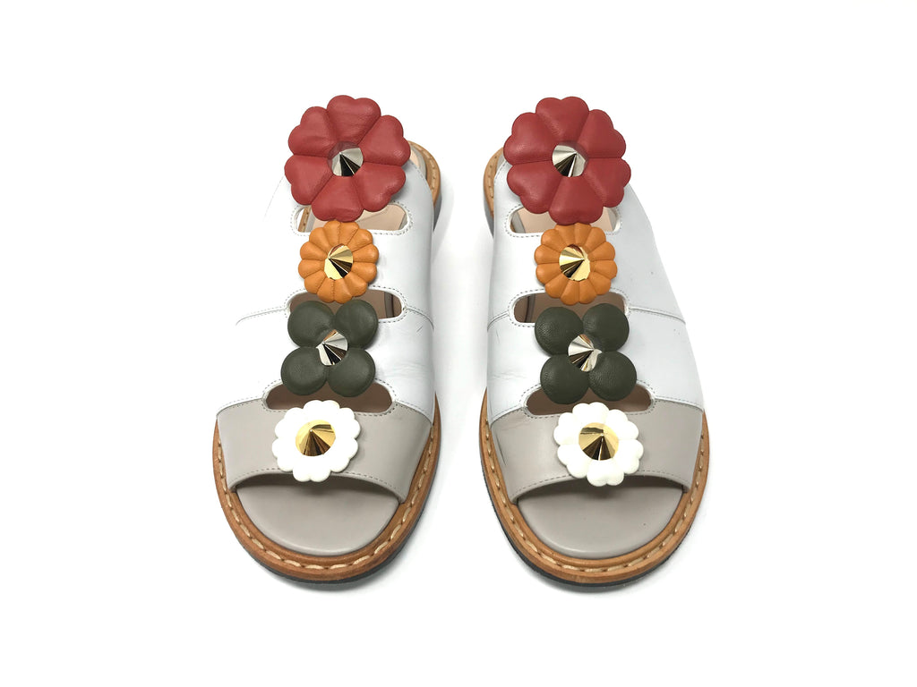 FENDI Floral Flats with Gold and Silver Accents