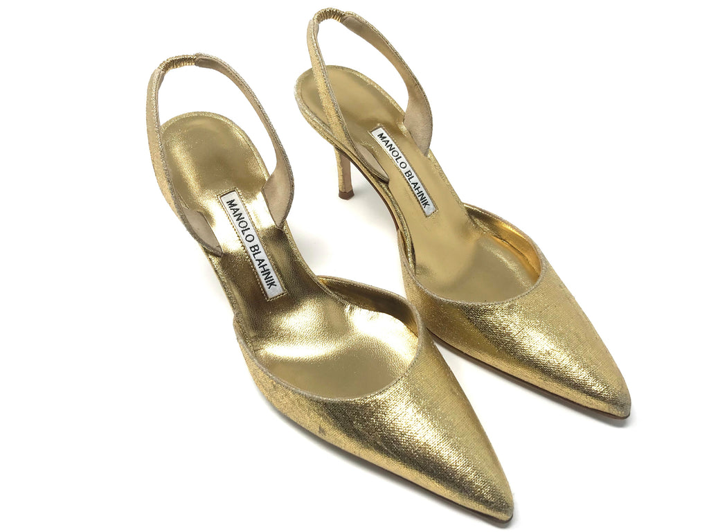 Manolo Blahnik Gold Slingback Pumps