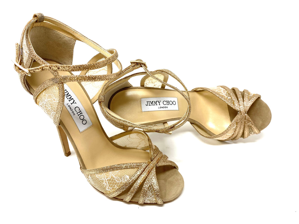 Jimmy Choo Glitter and Lace Strappy Sandal