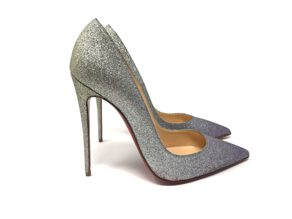 Christian Louboutin 'So Kate' Silver Glitter Pump