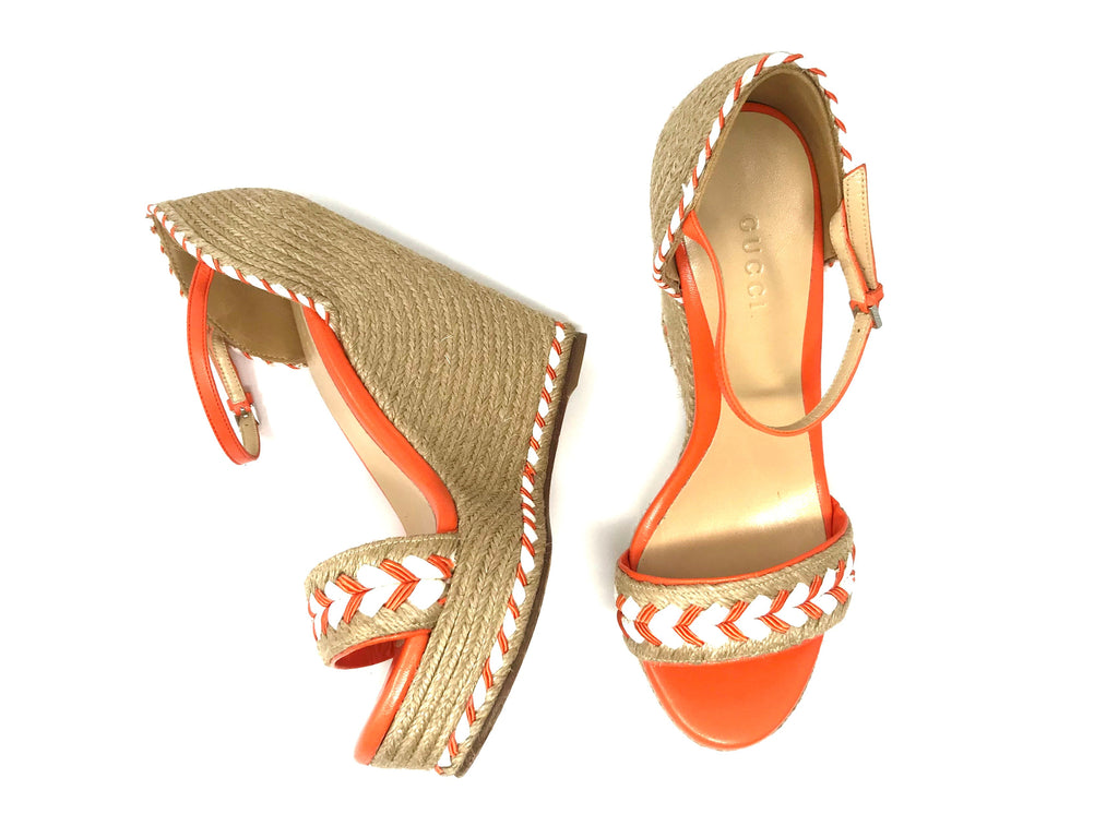 Gucci Orange Tiffany Espadrille Wedge Sandal