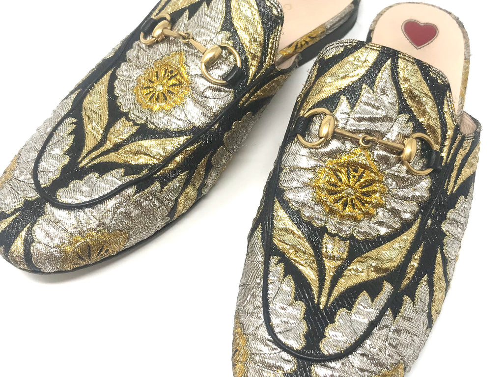 GUCCI Princetown Gold and Silver Brocade Flat Mule