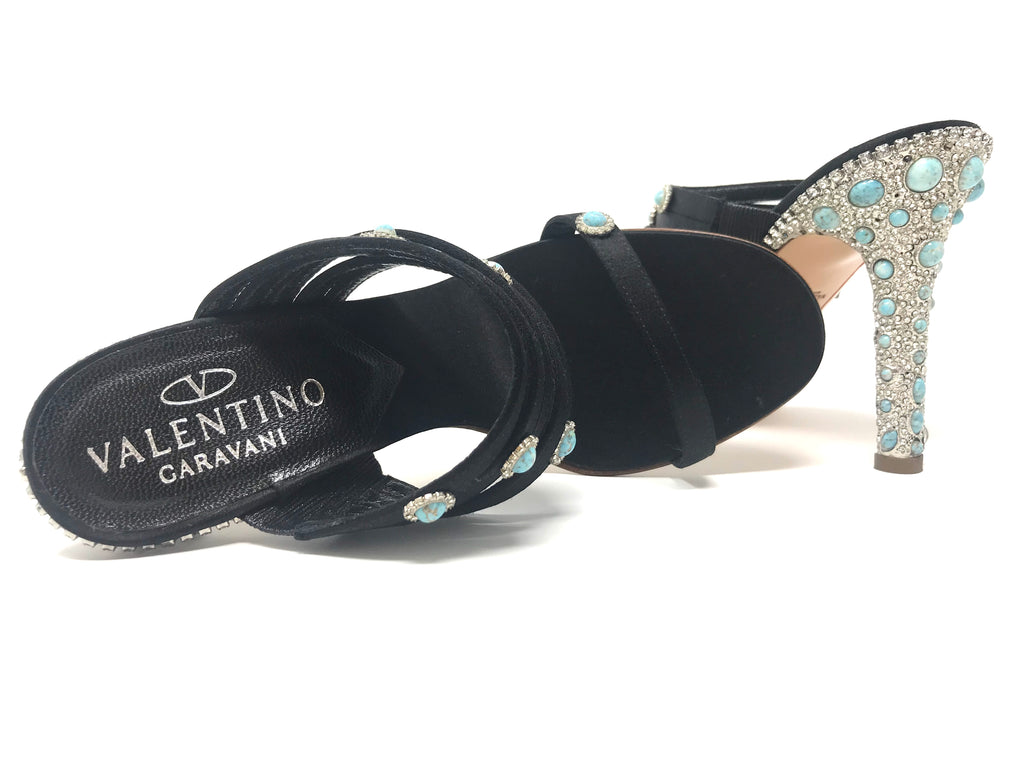 Valentino Garavani Black with Turquoise and Swarovski Crystal Studded Sandals