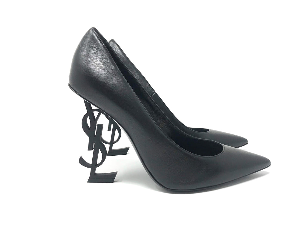 Saint Laurent OpYum Calf Leather Logo Heel Pumps