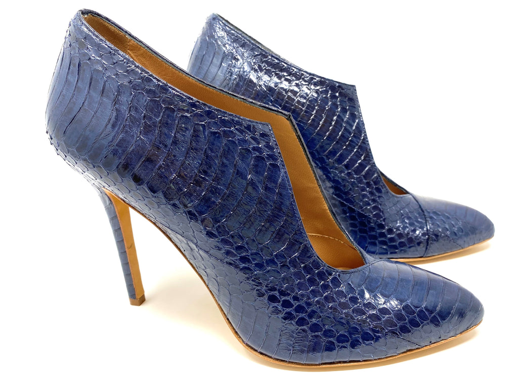 ALEXA WAGNER Navy Snakeskin Leather Pump/Bootie