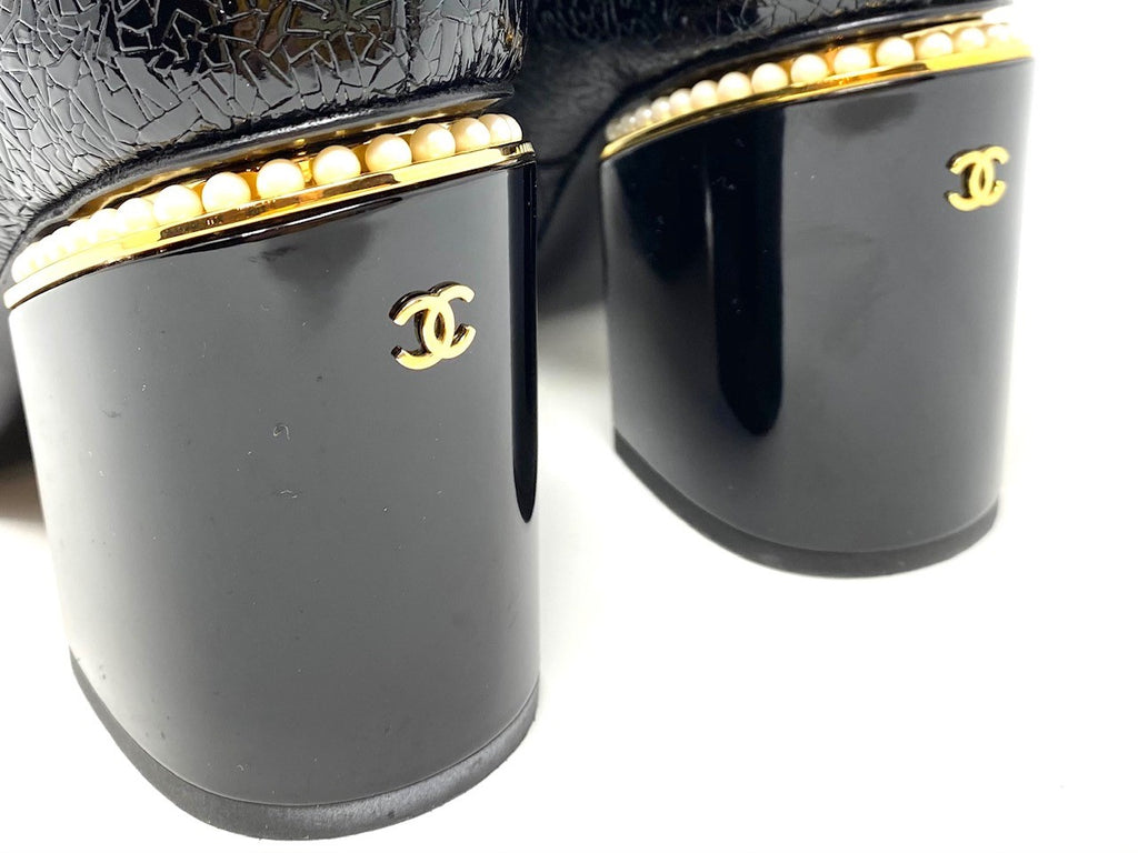Chanel Black Patent Leather Block Heel Bootie with Pearls
