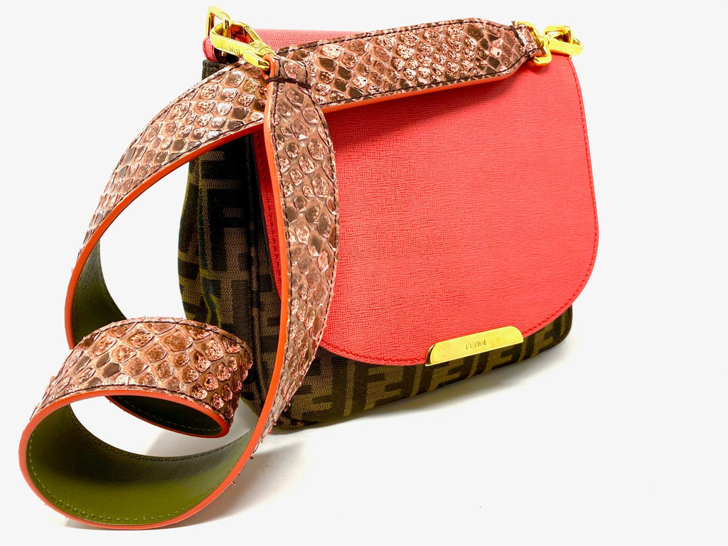 FENDI Zucca Small Crossbody Bag with Snakeskin Strap
