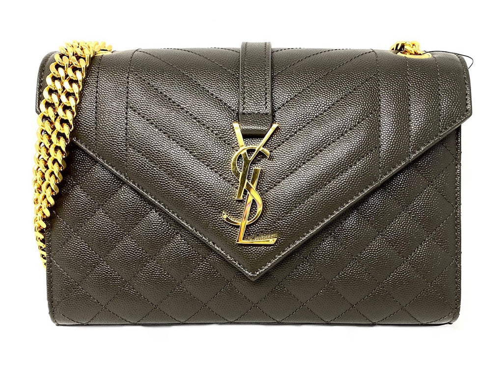 Saint Laurent Medium Envelope Monogram Matelasse Leather Bag