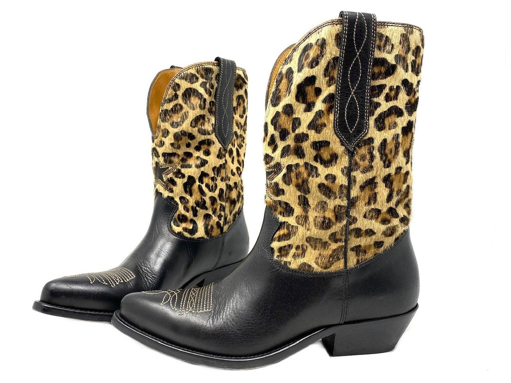 Golden Goose Wish Star Leopard Pony Hair and Black Leather Boots