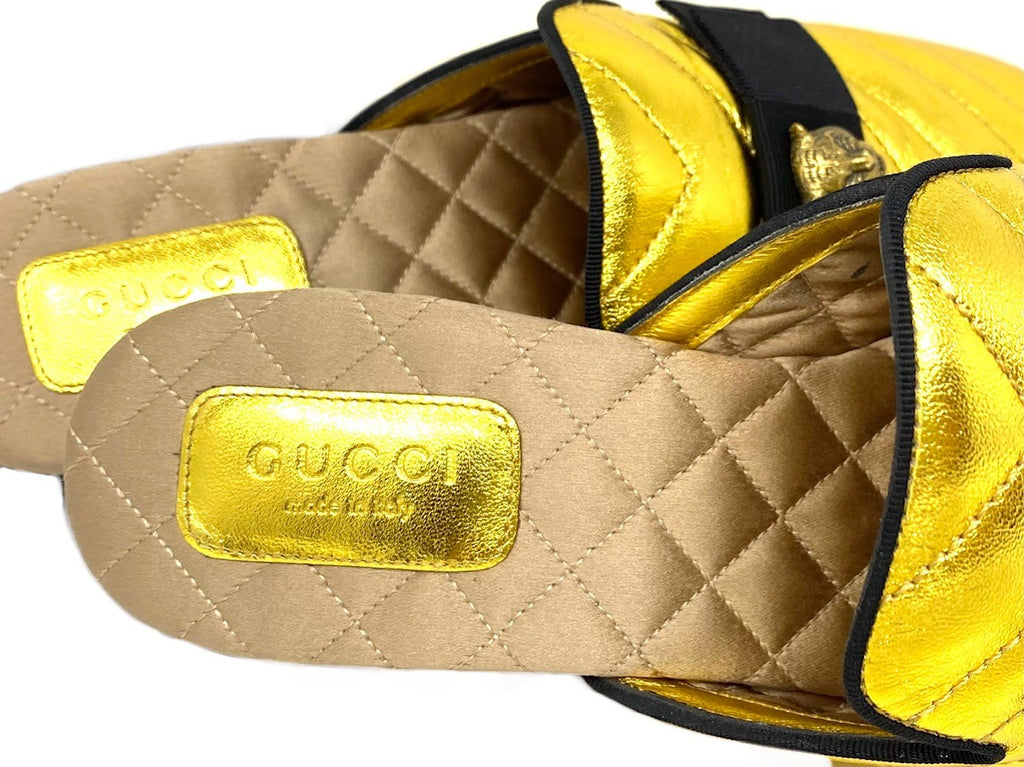 GUCCI Gold Princetown Mule with Tiger Head