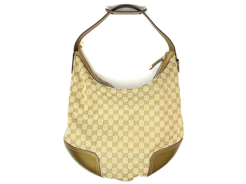 GUCCI Beige/Bronze Monogram Hobo