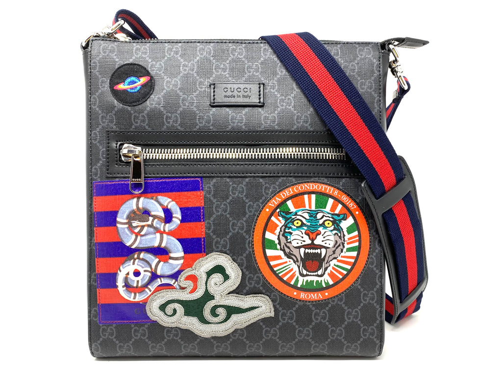 GUCCI GG Supreme Snake Tiger Messenger Bag