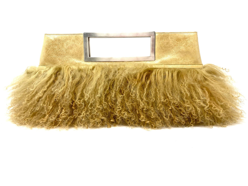 Vintage Leather/Mohair Clutch