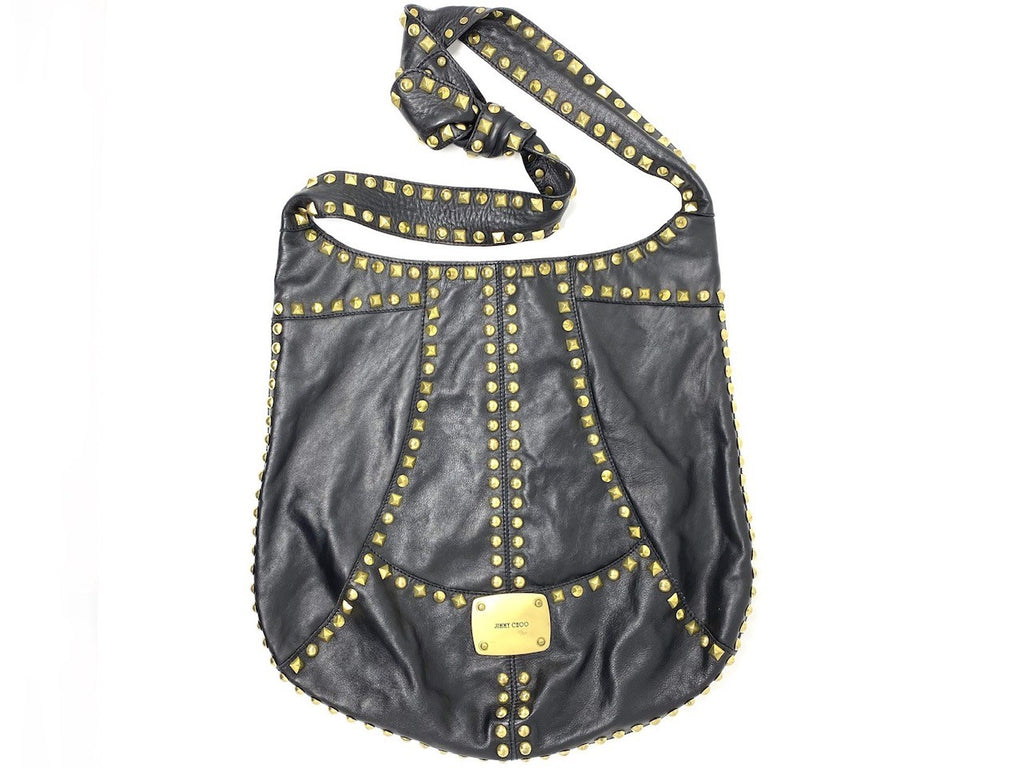 Jimmy Choo Black Leather with Gold Stud Crossbody Bag